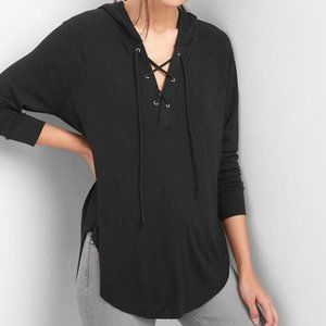 GAP softspun lace up black hoodie xs